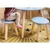Kép 2/3 - Asztal 2 székkel fából - ezüstszürke