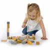 Kép 2/4 - Label Label 50 darabos fa építőkocka szett - sárga