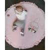 Kép 1/4 - Kör alakú játszószőnyeg fodros - rózsaszín