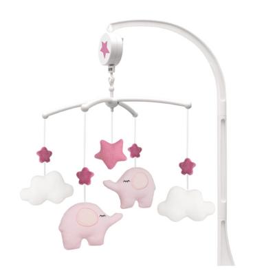 Zenélő ágyforgó rózsaszín elefántok Jabadabado