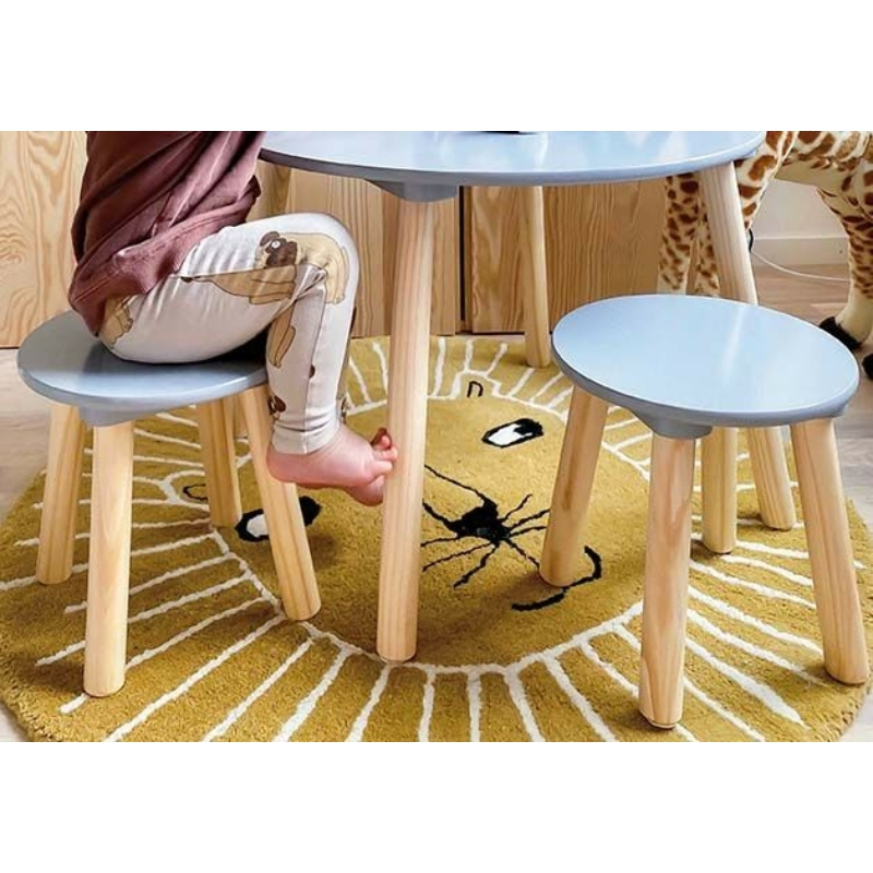 Asztal 2 székkel fából - ezüstszürke