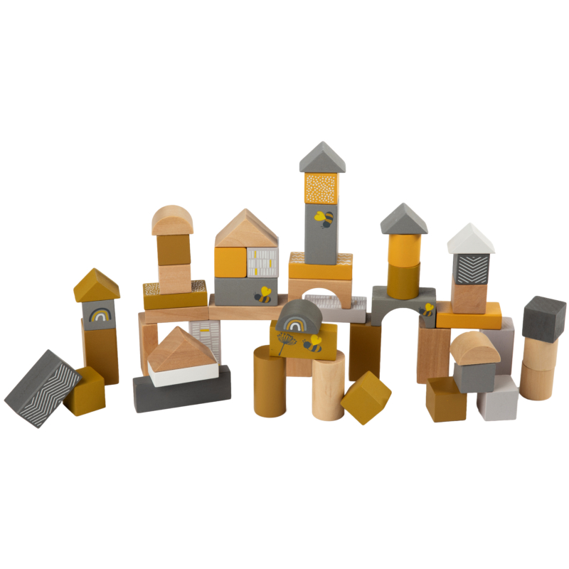 Label Label 50 darabos fa építőkocka szett - sárga