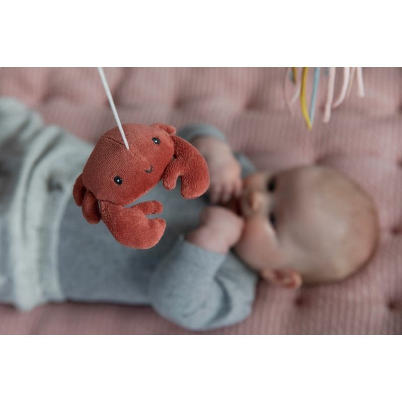 Little Dutch zenélő körforgó natúr fa vázzal - tengeri állatos, pink