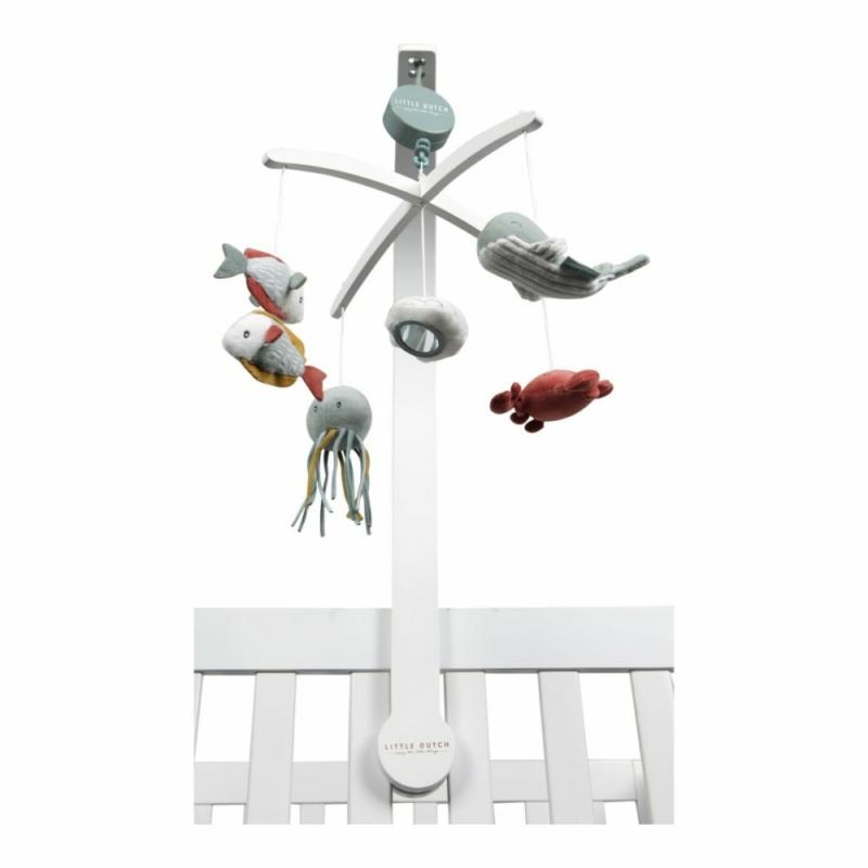 Little Dutch zenélő körforgó fehér fa vázzal - tengeri állatos, menta