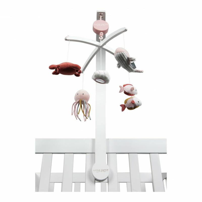 Little Dutch zenélő körforgó fehér fa vázzal - tengeri állatos, pink