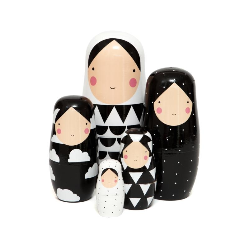Petit Monkey matrjoska baba fekete-fehér