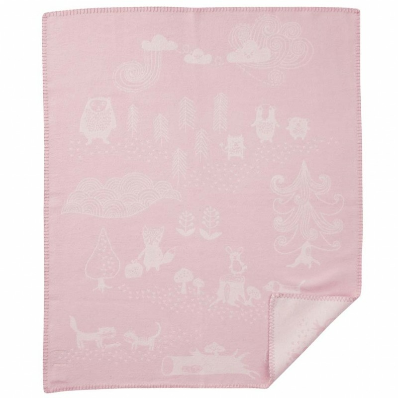 Biopamut babapléd - erdei állatos, rózsaszín