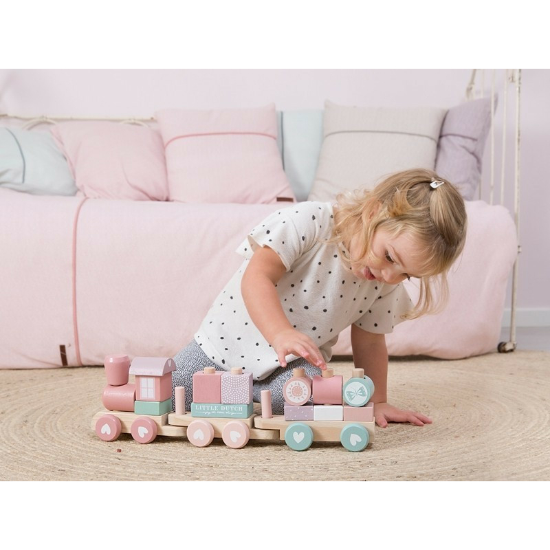 Little Dutch fa játékvonat építőelemekkel - adventure pink