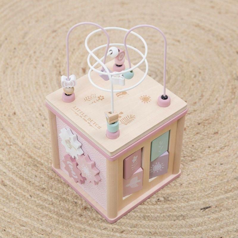 Little Dutch fa készségfejlesztő kocka - adventure pink