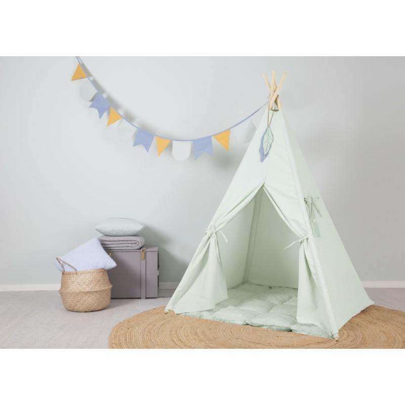 Little Dutch indián sátor szőnyeggel és zászlókkal - menta