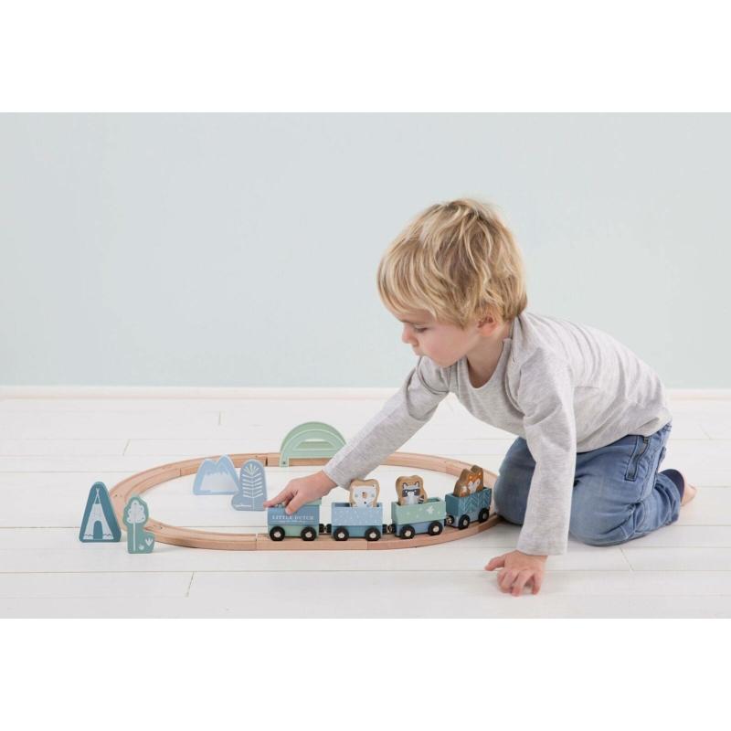 Little Dutch fa játékvonat sínpályával - adventure kék