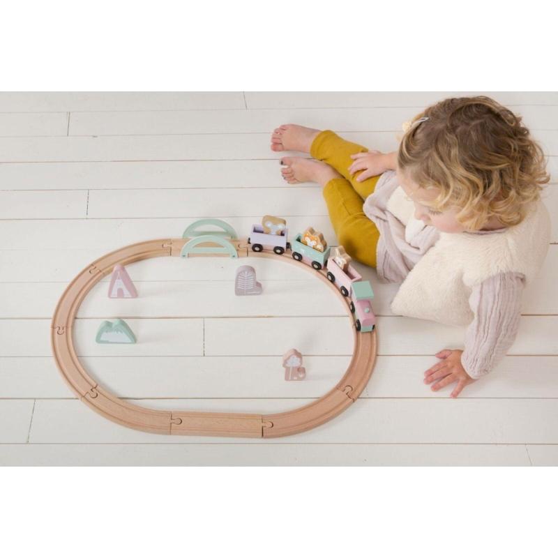 Little Dutch fa játékvonat sínpályával - adventure pink